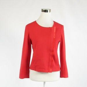 Red cotton ICB stretch slit cuff blazer jacket 6